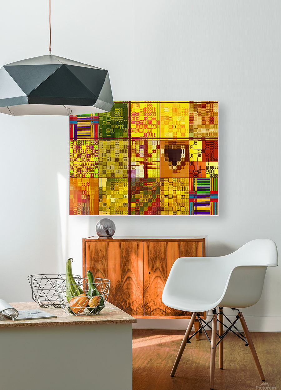 YELLOW COLLAGE  HD Metal print with Floating Frame on Back