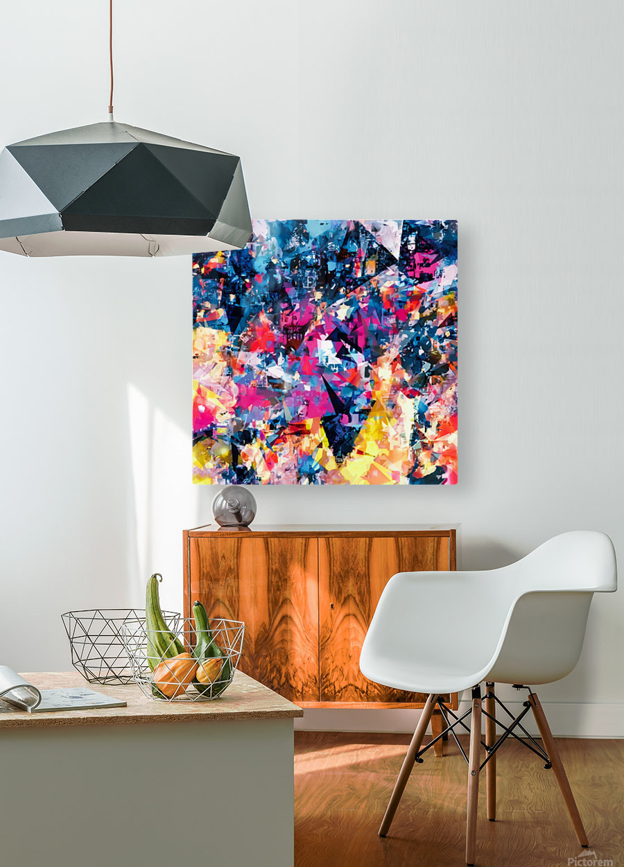 psychedelic geometric triangle pattern abstract in blue pink red yellow  HD Metal print with Floating Frame on Back