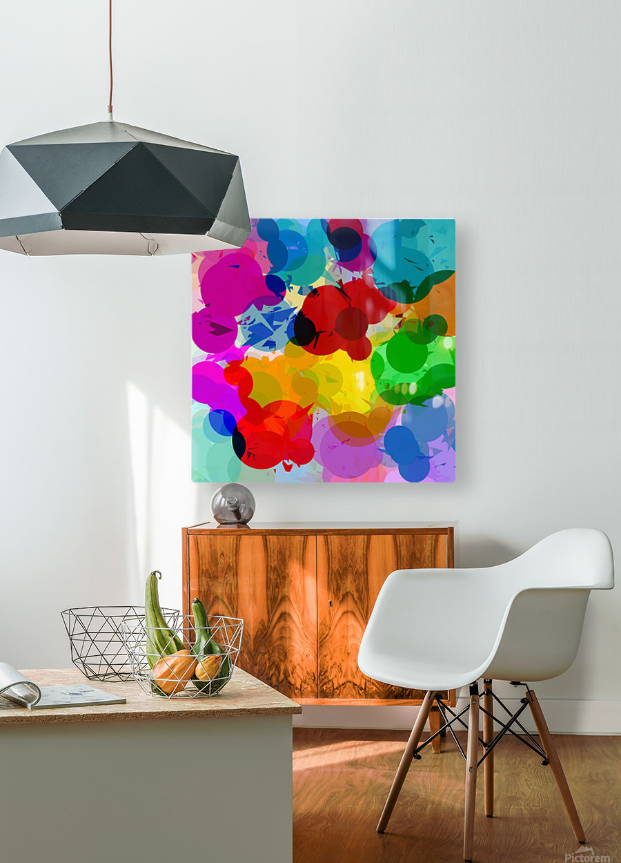colorful geometric circle and triangle pattern abstract in red orange yellow green blue  HD Metal print with Floating Frame on Back