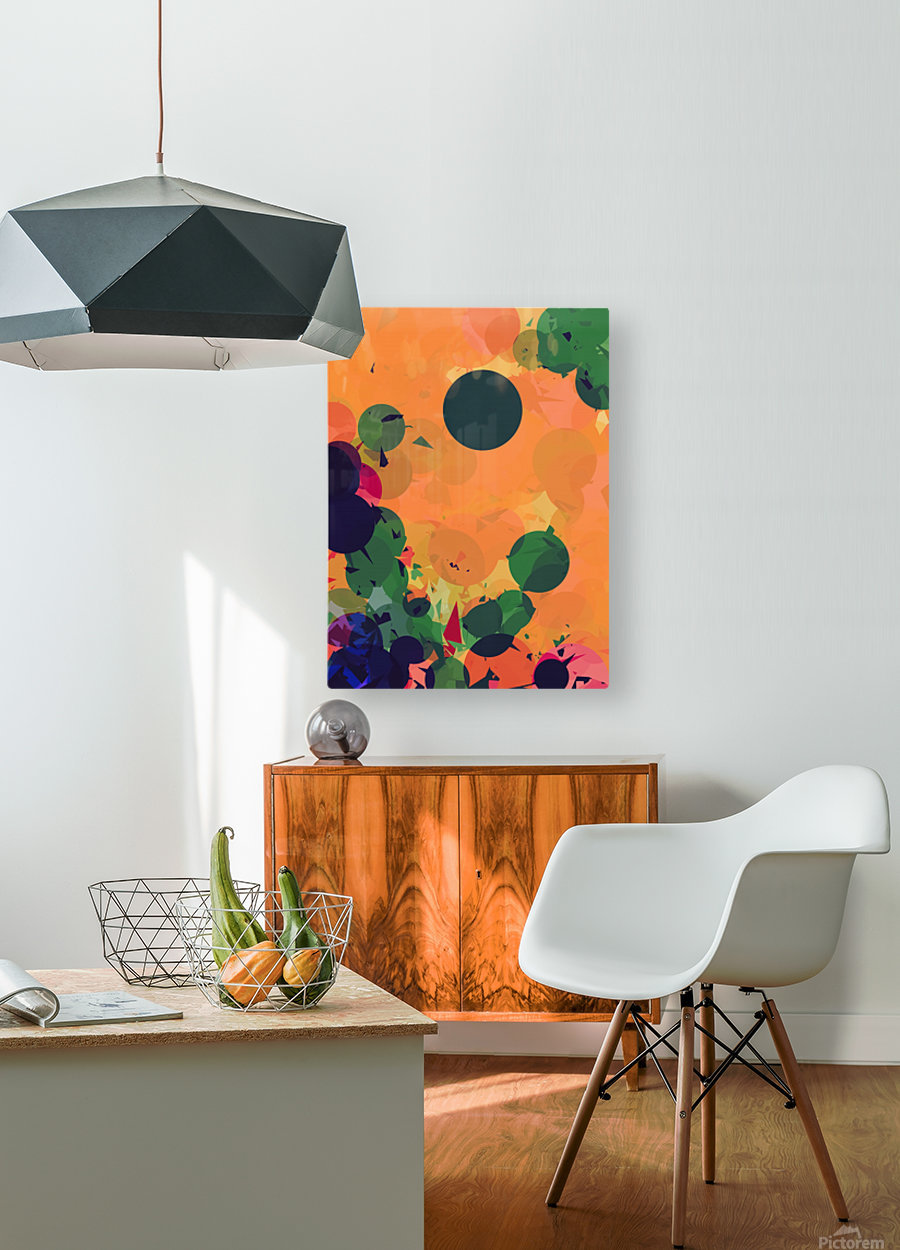 geometric circle and triangle pattern abstract in green orange red  HD Metal print with Floating Frame on Back