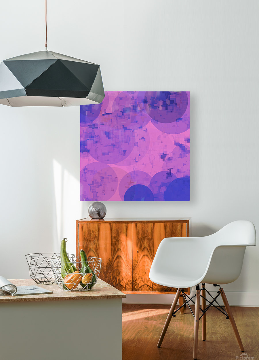 geometric circle and square pattern abstract in pink purple  HD Metal print with Floating Frame on Back