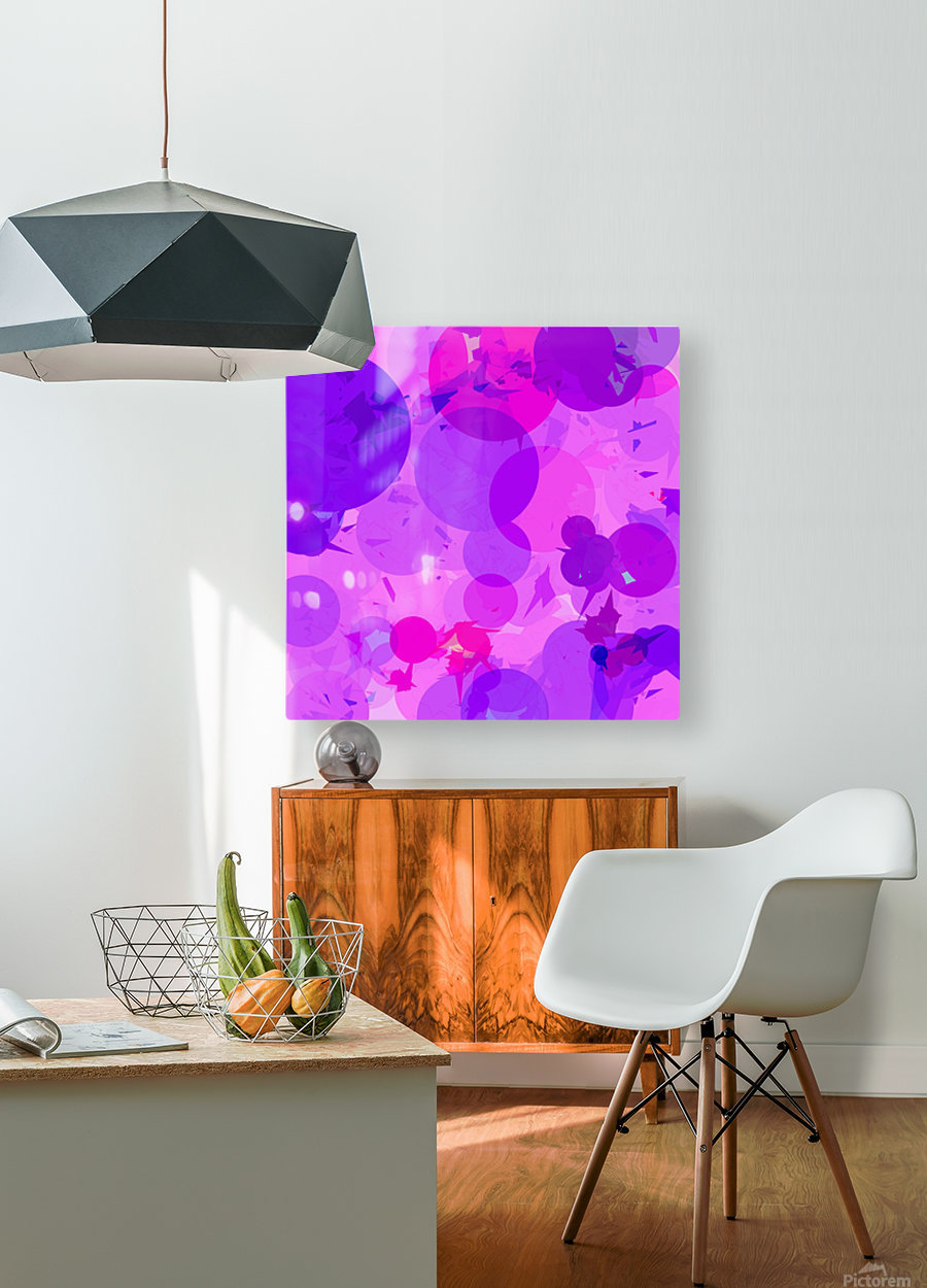 geometric circle and triangle pattern abstract in pink purple  HD Metal print with Floating Frame on Back