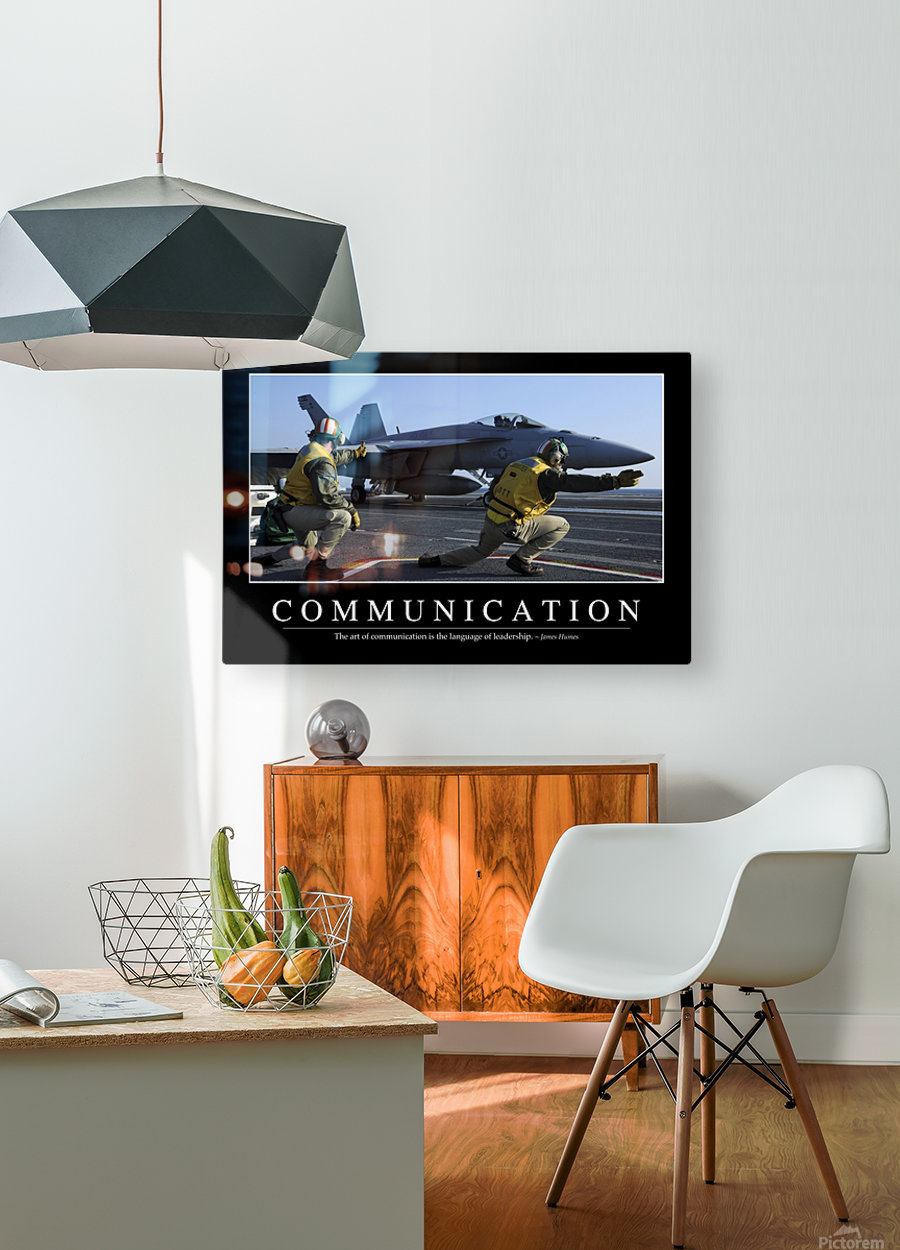 Communication: Inspirational Quote and Motivational Poster  HD Metal print with Floating Frame on Back