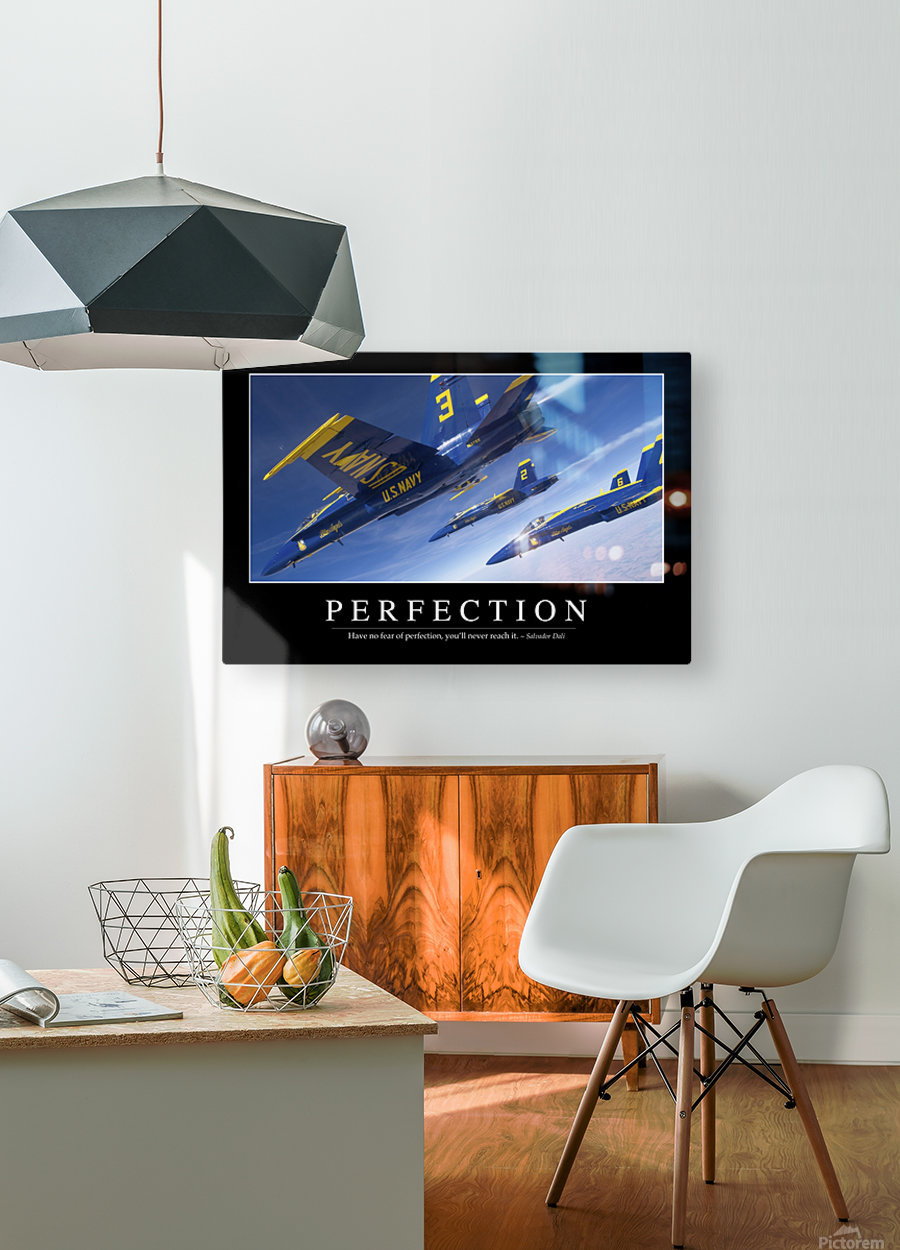 Perfection: Inspirational Quote and Motivational Poster  HD Metal print with Floating Frame on Back