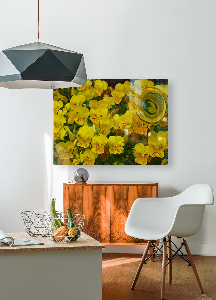 Yellow Abstract Floral Art  HD Metal print with Floating Frame on Back