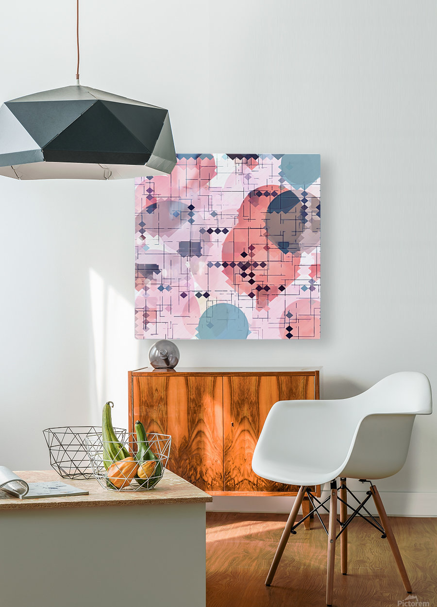 geometric square pixel pattern abstract with circle pattern background in red pink blue  HD Metal print with Floating Frame on Back