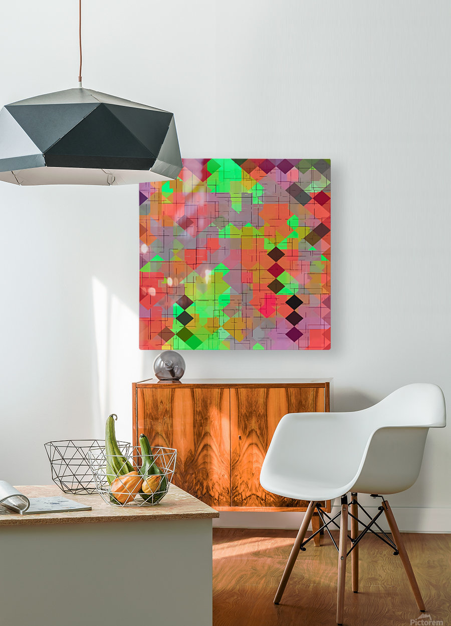 geometric square pixel pattern abstract in green orange red  HD Metal print with Floating Frame on Back