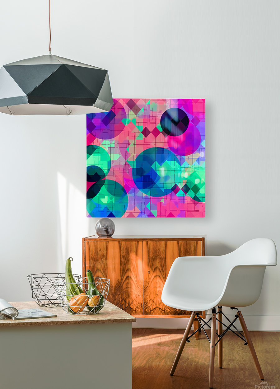 geometric square pixel and circle pattern abstract in pink blue green  HD Metal print with Floating Frame on Back
