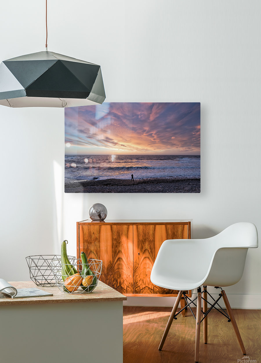 Seaside Sunset  HD Metal print with Floating Frame on Back