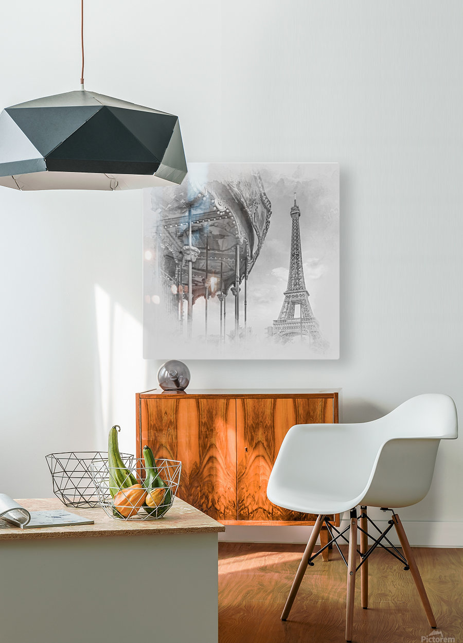Typical Paris   monochrome watercolor  HD Metal print with Floating Frame on Back