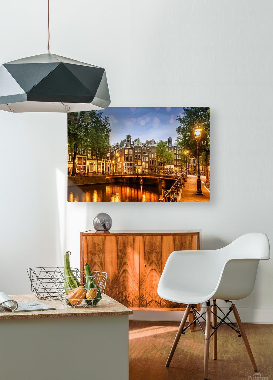 AMSTERDAM Idyllic impression from Singel  HD Metal print with Floating Frame on Back