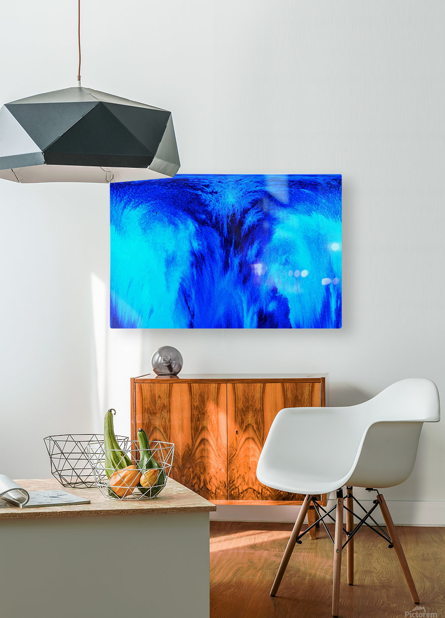 Abstract blue  HD Metal print with Floating Frame on Back