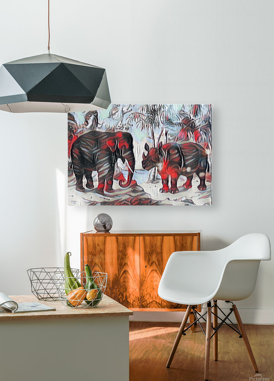 Elephant And Rhinoceros_On A Cold Rain_OSG  HD Metal print with Floating Frame on Back