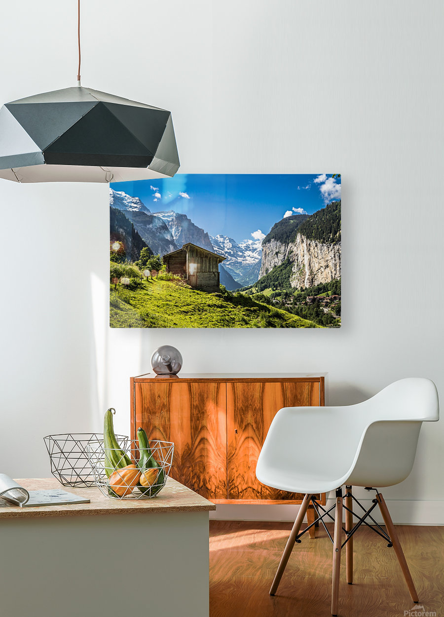 Hut in the valley  HD Metal print with Floating Frame on Back