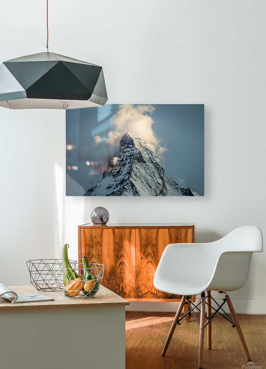 Matterhorn Glow Blue  HD Metal print with Floating Frame on Back