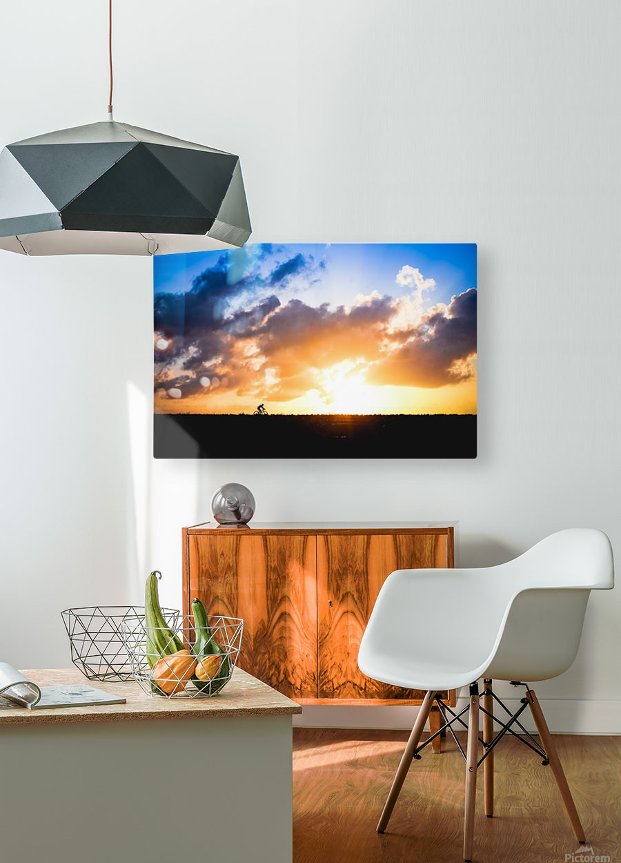 Sunset rider  HD Metal print with Floating Frame on Back