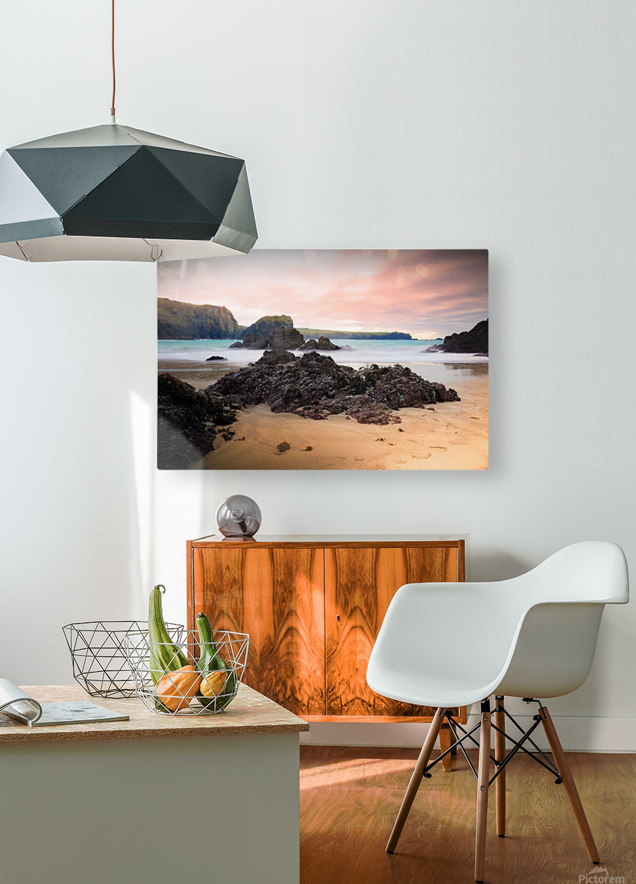 Surreal Stormy Beach Scene  HD Metal print with Floating Frame on Back