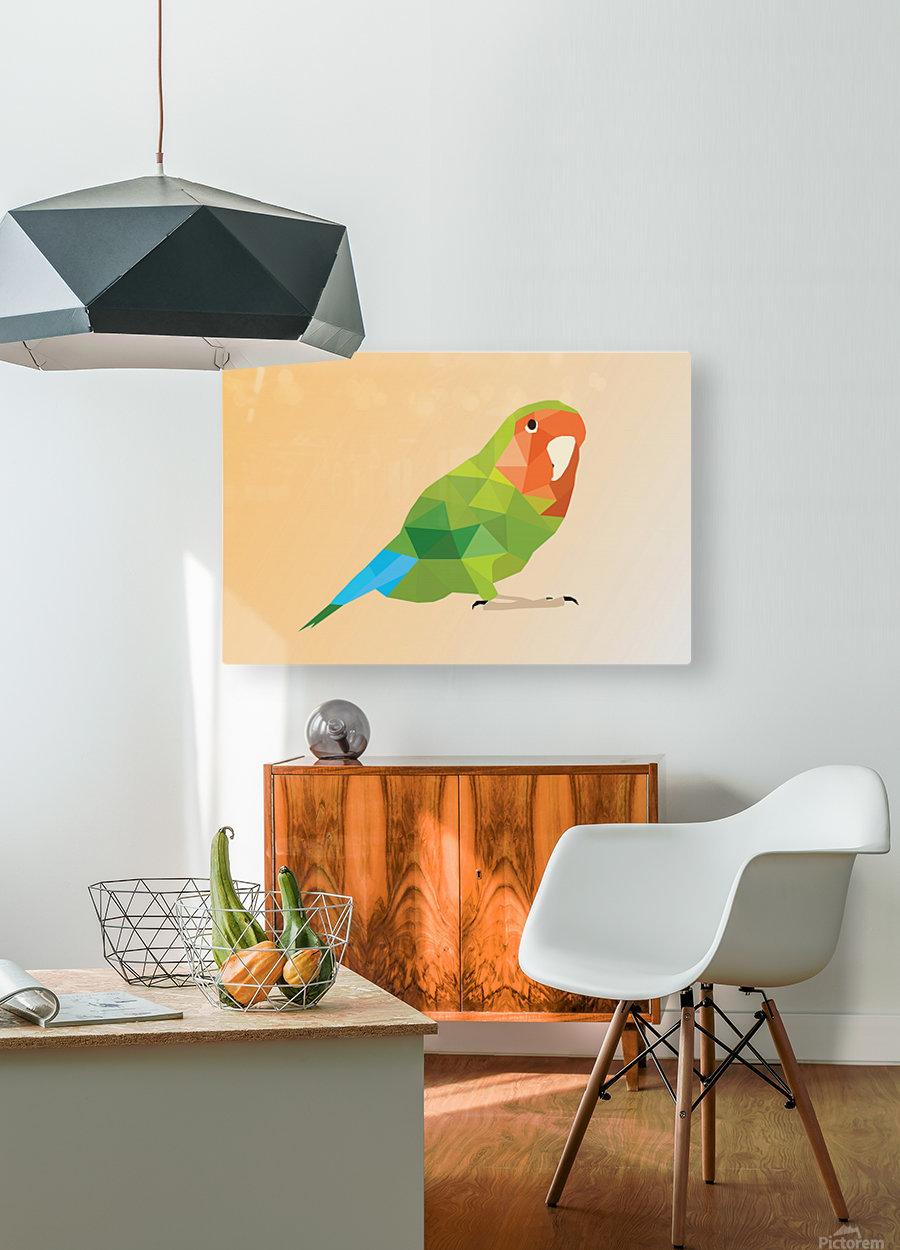 Parrot LOW POLY ART   HD Metal print with Floating Frame on Back