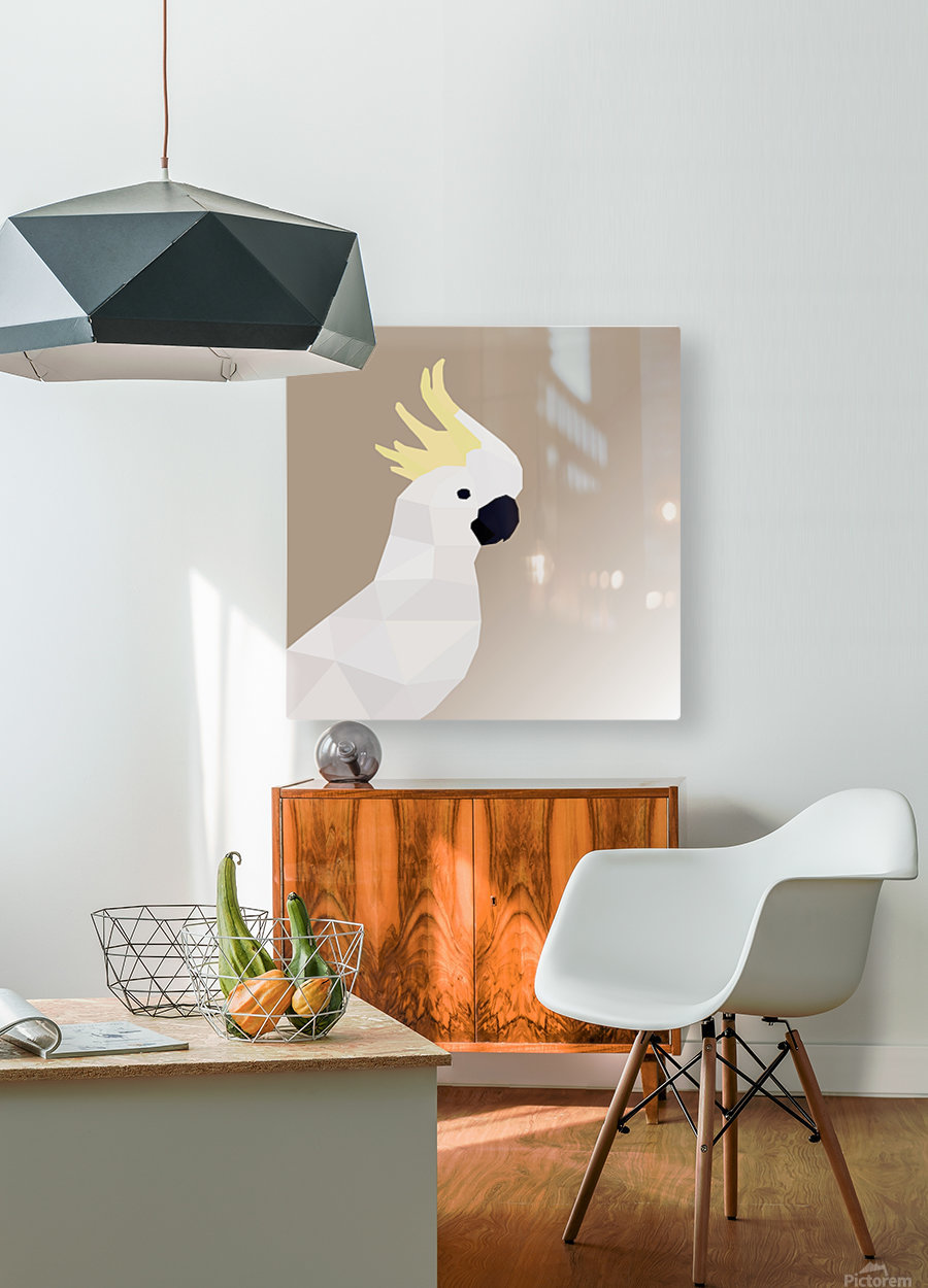 COCKATOO BIRD LOW POLY ART  HD Metal print with Floating Frame on Back
