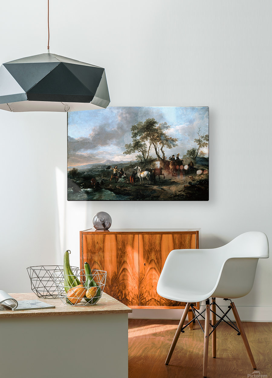 Halt of a Hunting Party  HD Metal print with Floating Frame on Back