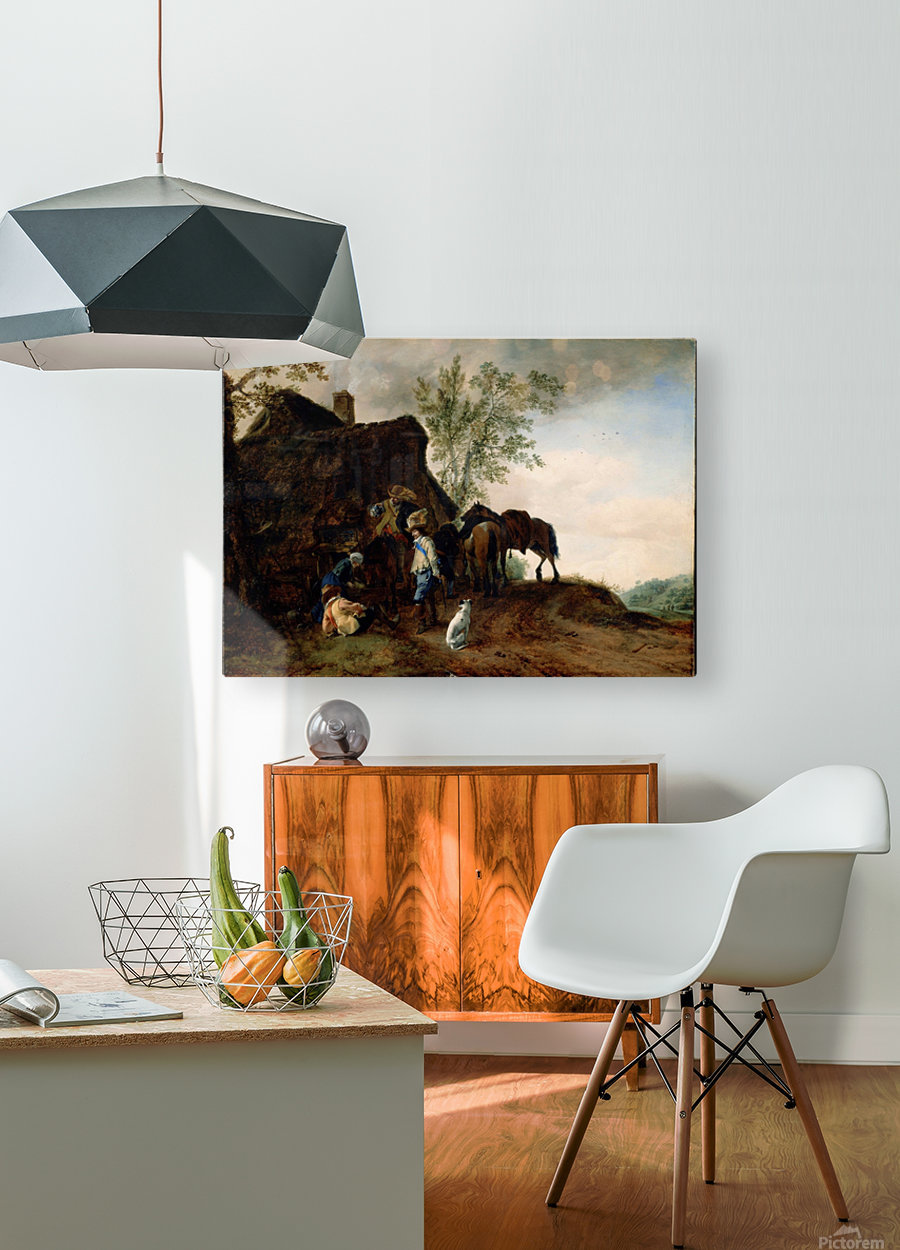 Halt of Cavaliers at an Inn  HD Metal print with Floating Frame on Back