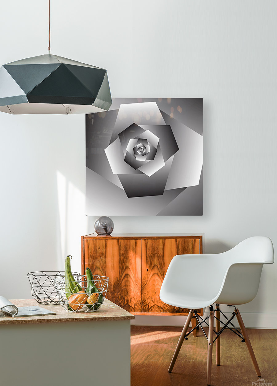 Monochrome Rose Art  HD Metal print with Floating Frame on Back