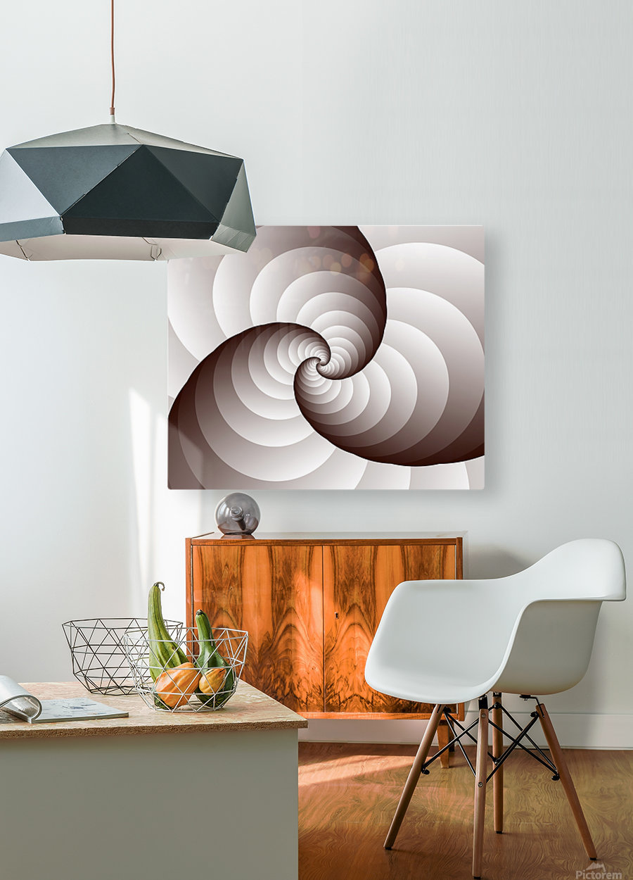 Spirally  HD Metal print with Floating Frame on Back