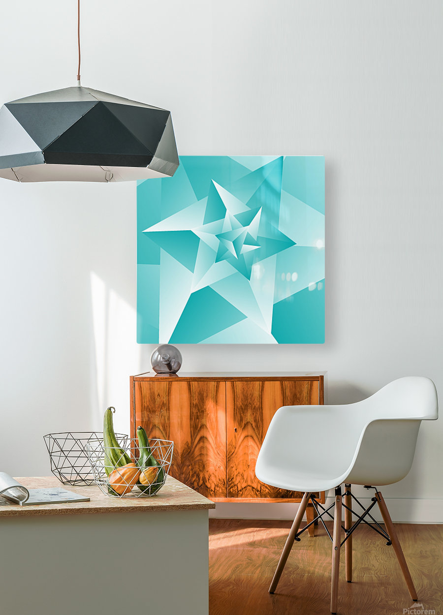 Bluish Trendy Triangle Art  HD Metal print with Floating Frame on Back