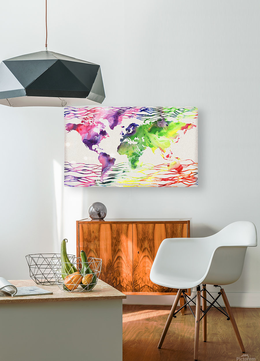 Colorful Wave Of Watercolour World Map  HD Metal print with Floating Frame on Back