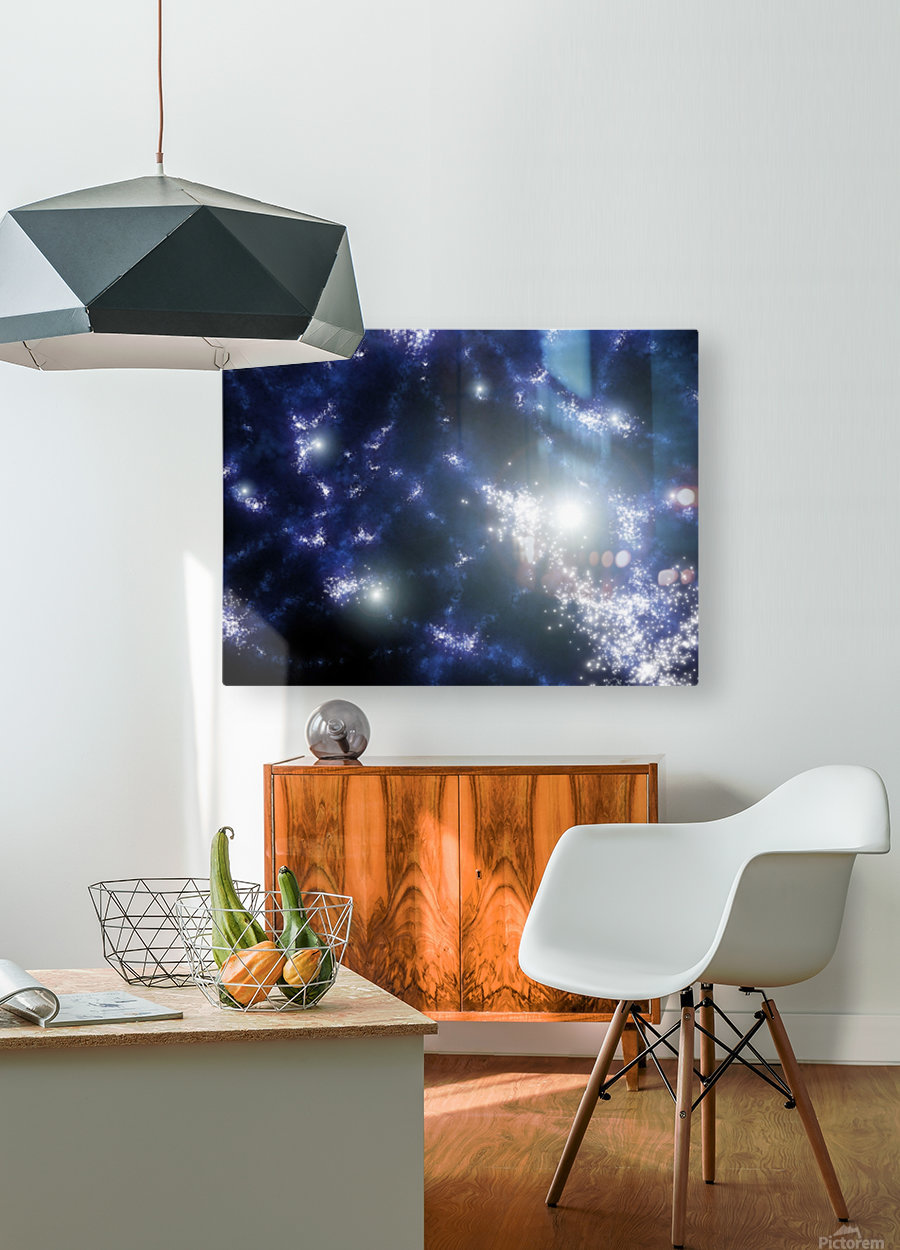 Population III stars clustered together into what will later become galaxies.  HD Metal print with Floating Frame on Back