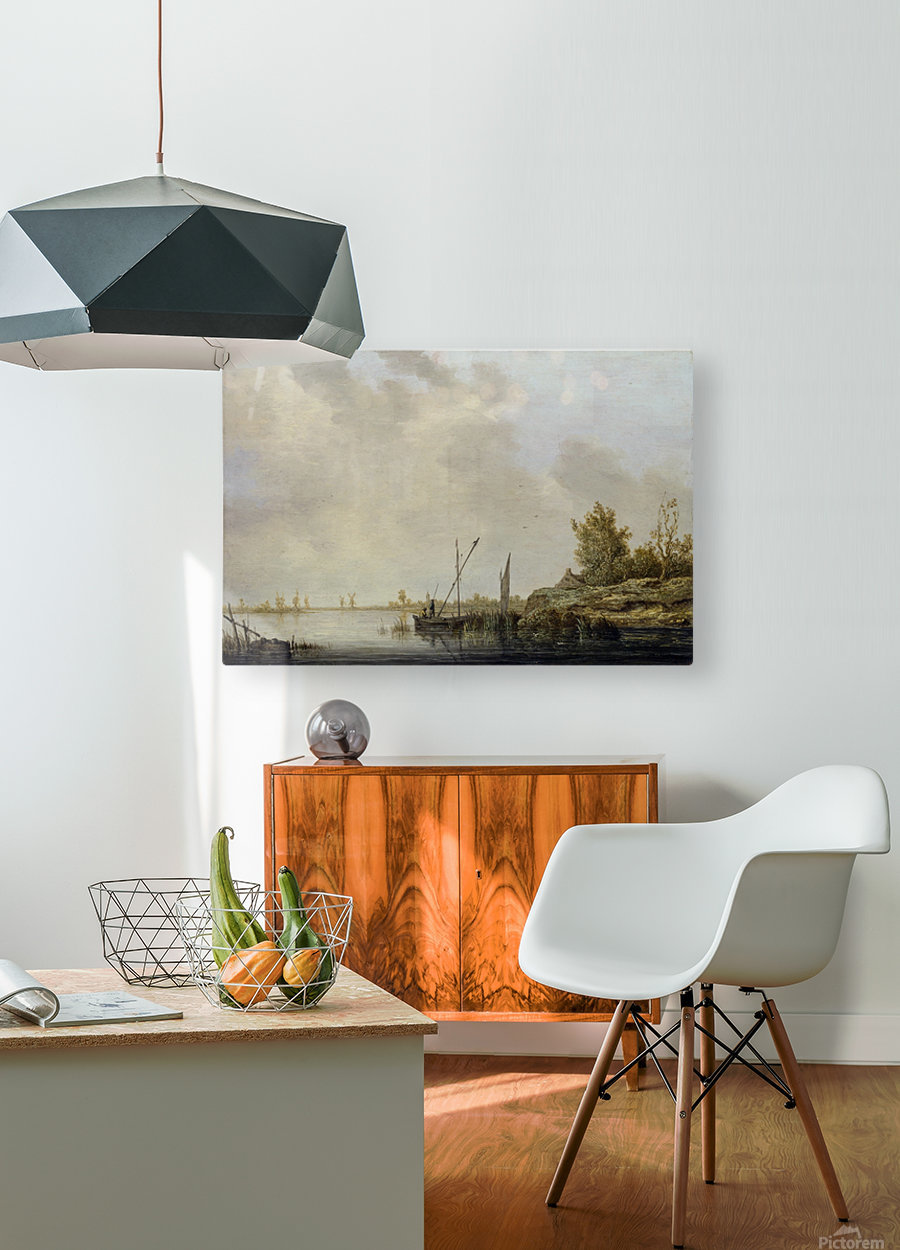 A River Scene with Distant Windmills  HD Metal print with Floating Frame on Back