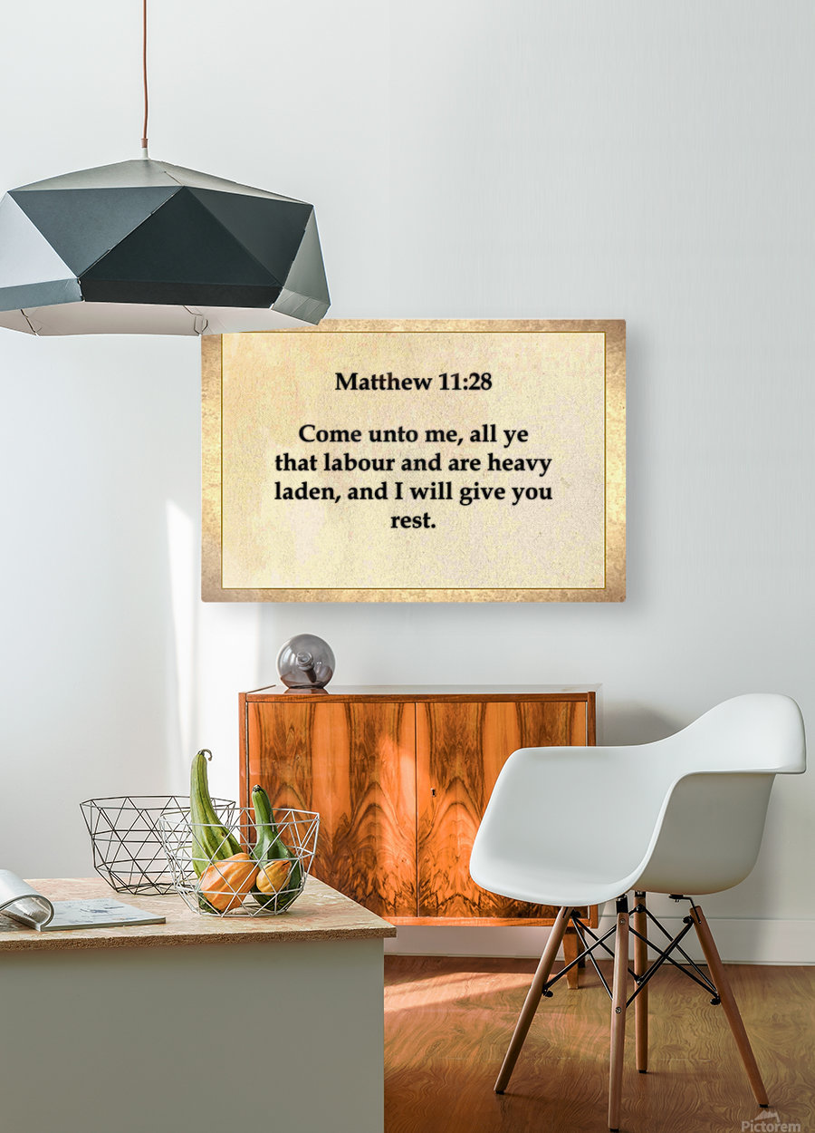 Matthew 11 28  HD Metal print with Floating Frame on Back