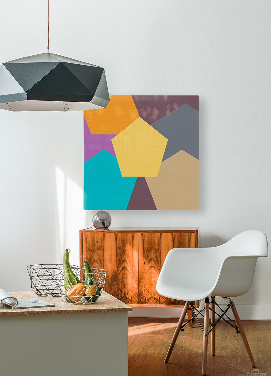 COLORFUL HEXAGON Pattern  HD Metal print with Floating Frame on Back