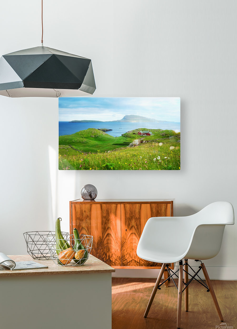 Faroe green field  HD Metal print with Floating Frame on Back
