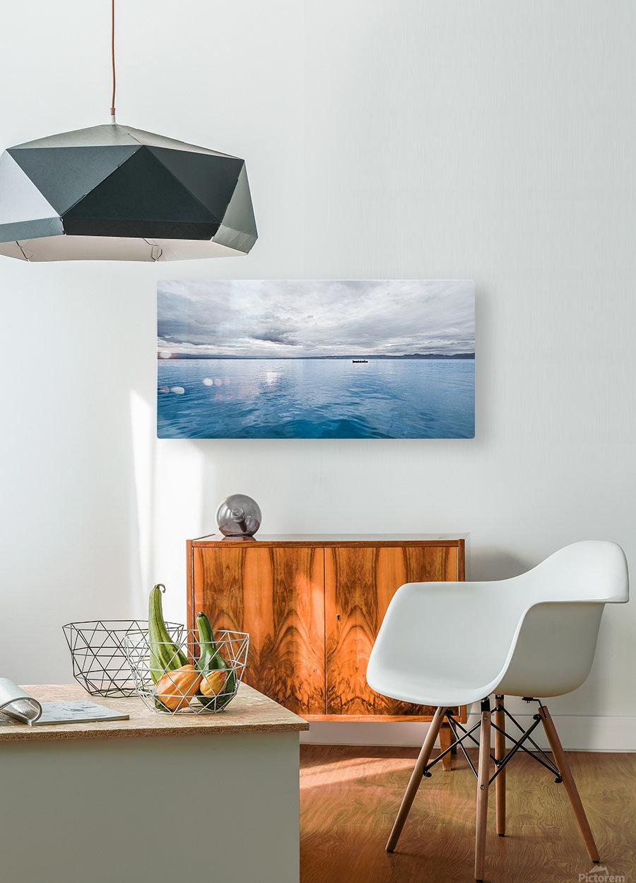 Lac Évian  Impression métal HD avec cadre flottant sur le dos