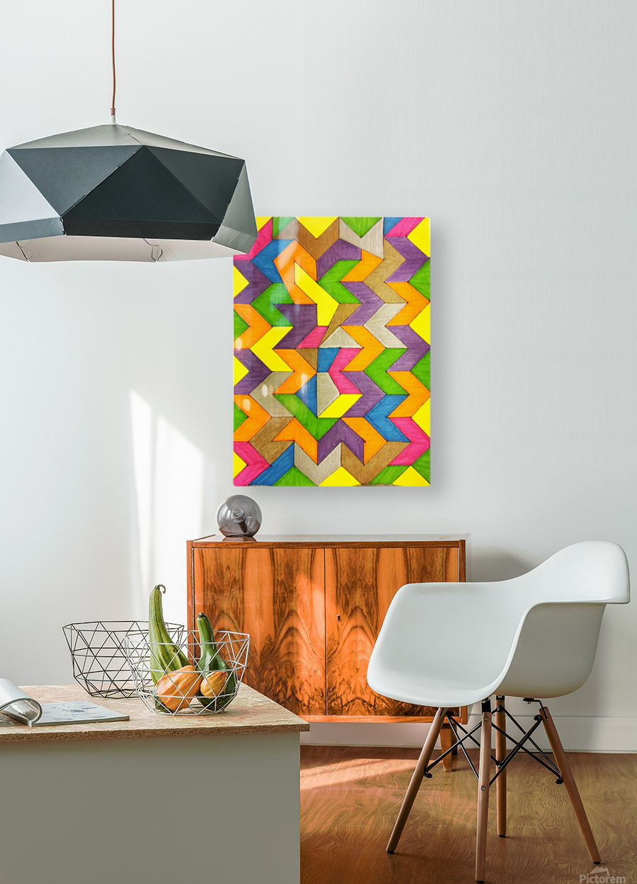 Patterned Lines of Color  HD Metal print with Floating Frame on Back