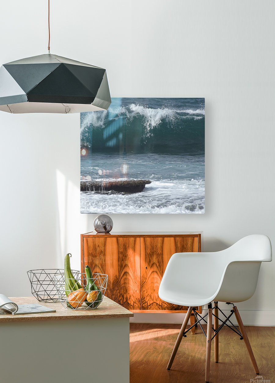 Breaking Wave  HD Metal print with Floating Frame on Back