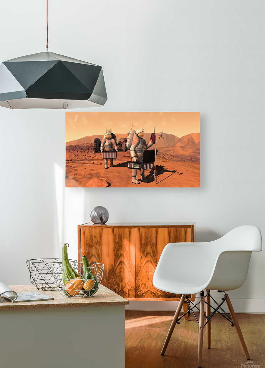 Artists concept of astronauts setting up weather monitoring equipment on Mars.  HD Metal print with Floating Frame on Back