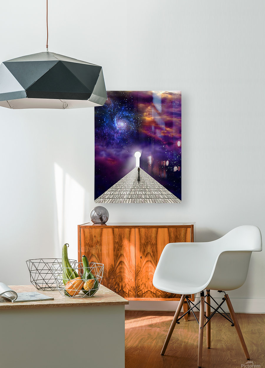 Man before keyhole  HD Metal print with Floating Frame on Back