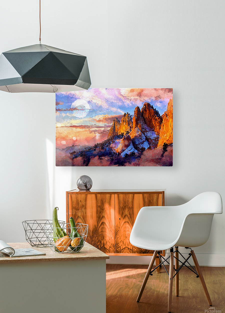Colorado Mountains - Digital Painting III  HD Metal print with Floating Frame on Back