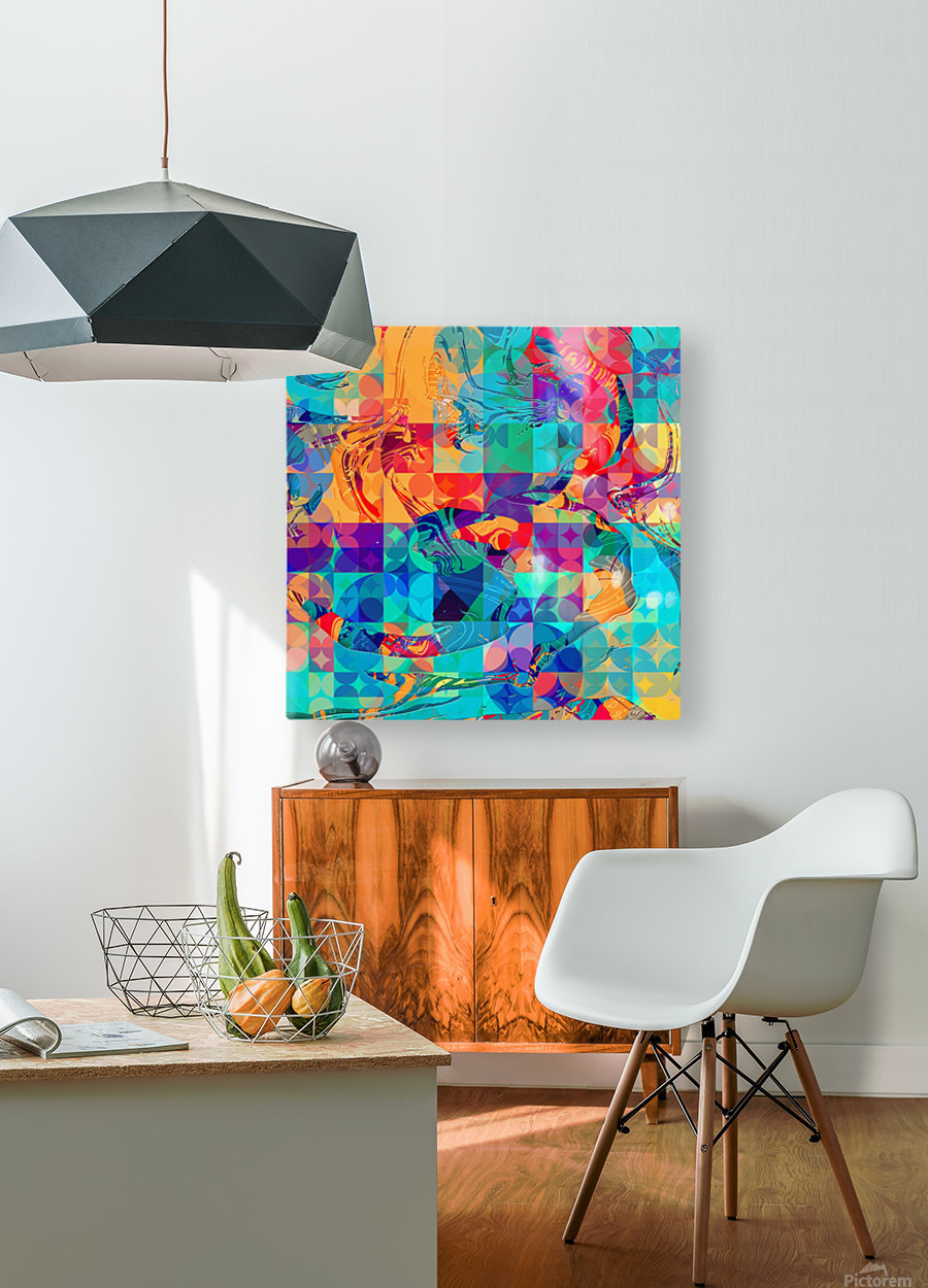 Geometric X  HD Metal print with Floating Frame on Back
