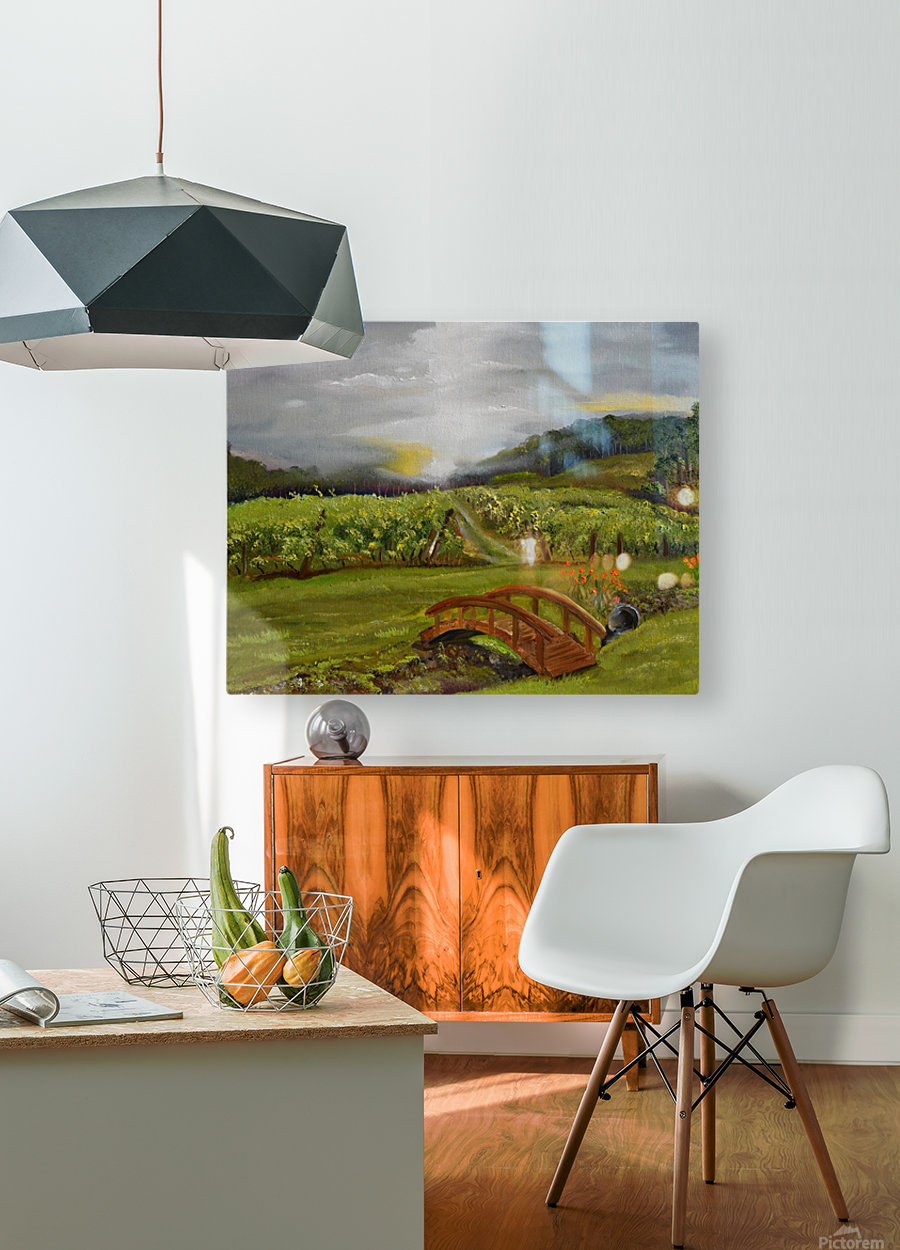 Sunshine Bridge at Cartecay Vineyard  HD Metal print with Floating Frame on Back