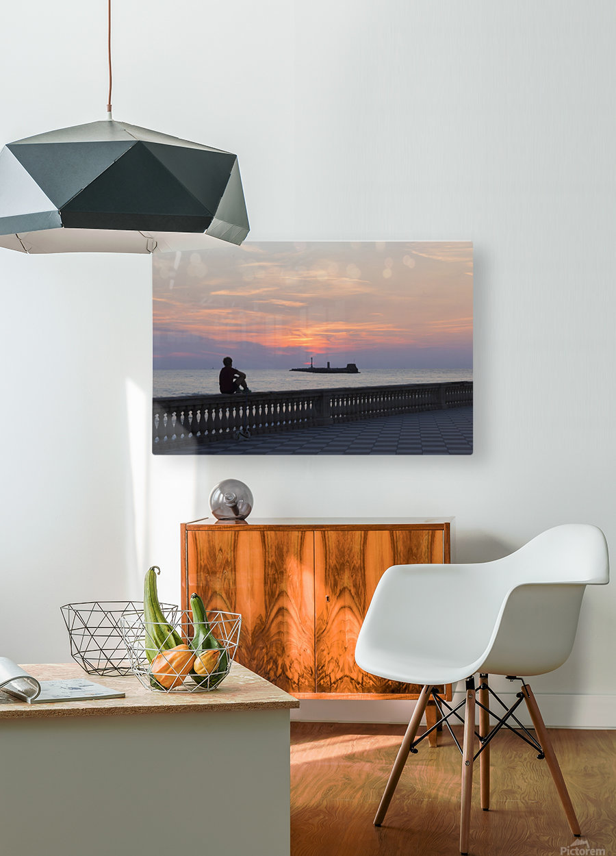 Sunset in Livorno - Piazza Mascagni  HD Metal print with Floating Frame on Back