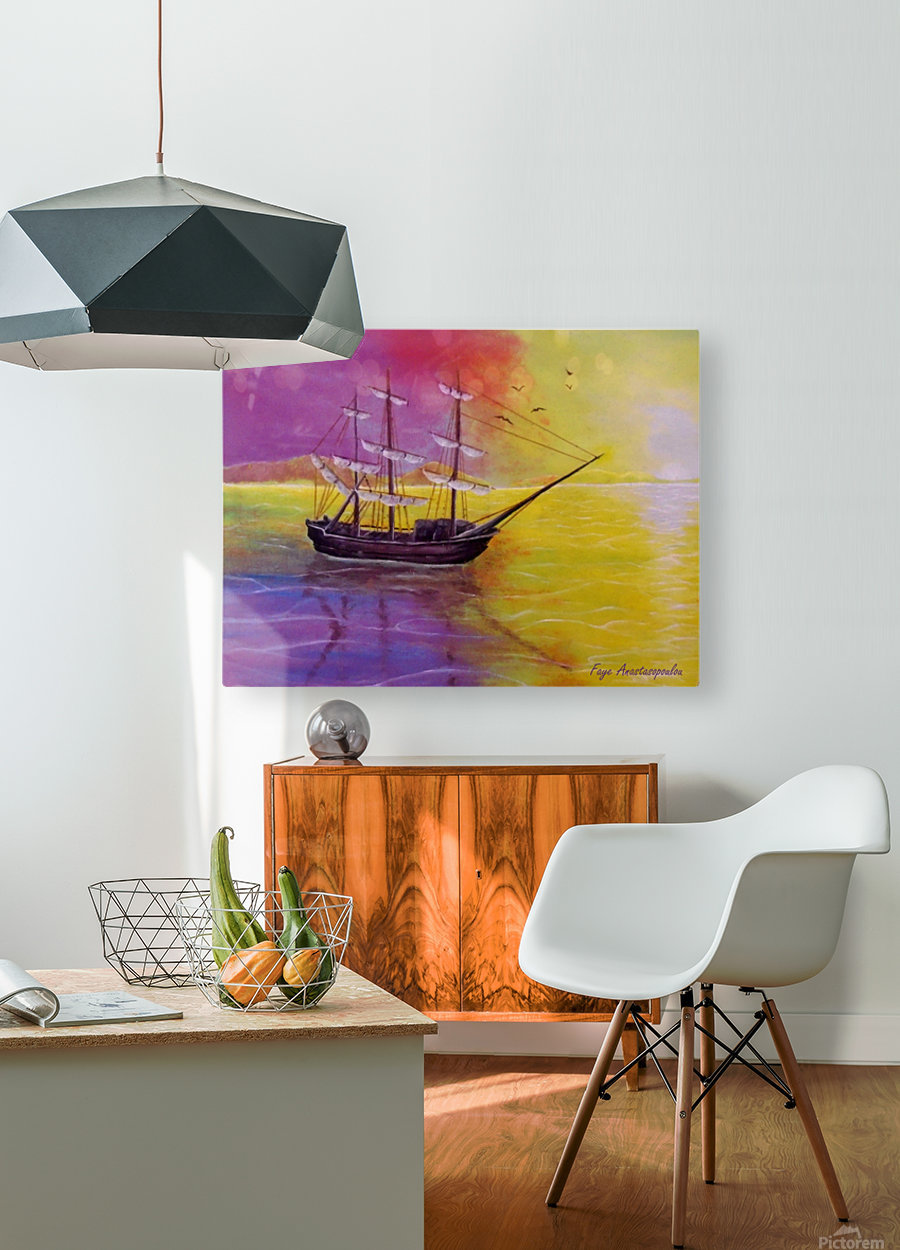 Sunset Sail  HD Metal print with Floating Frame on Back