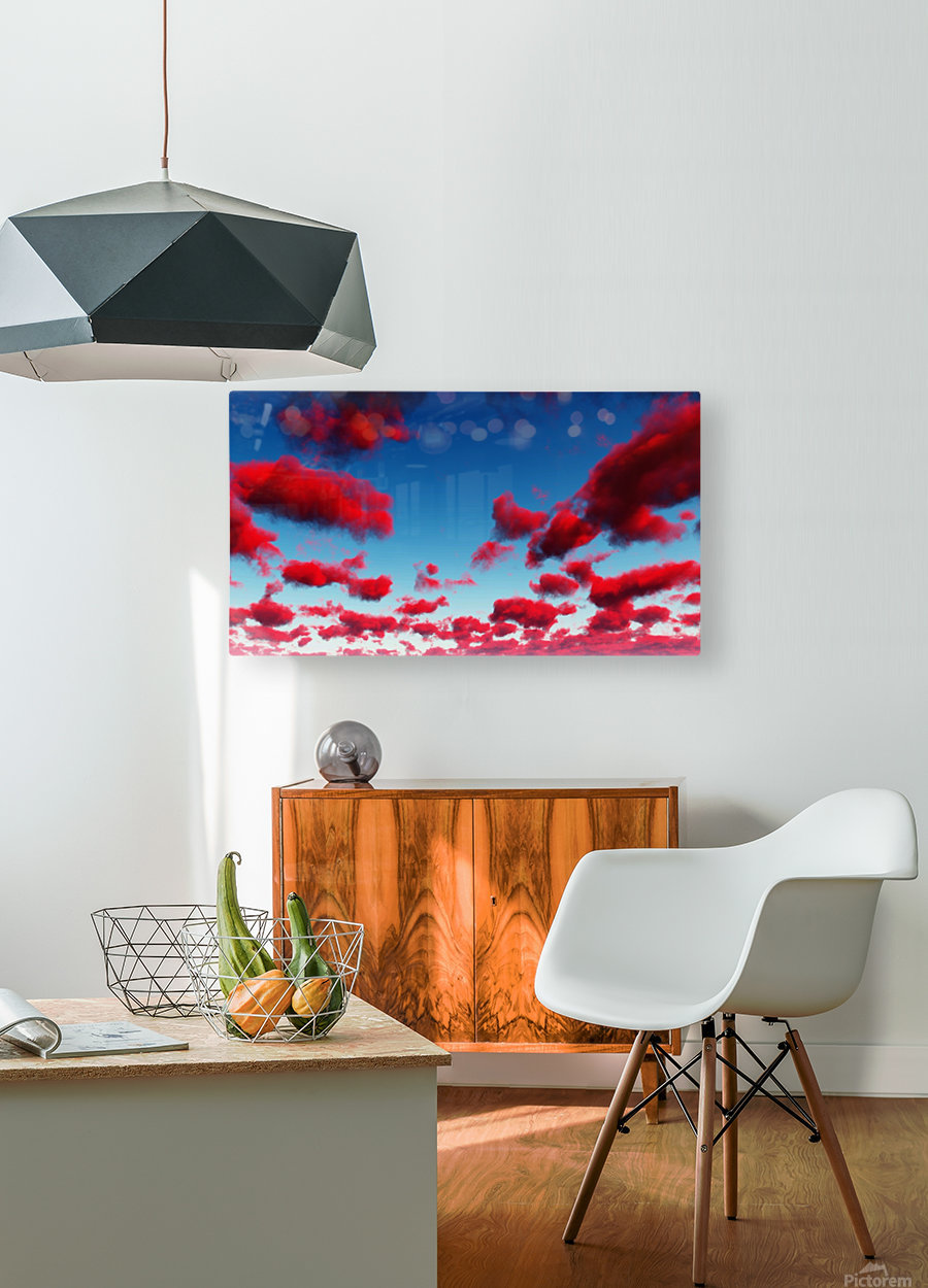 Deep Red Clouds  HD Metal print with Floating Frame on Back