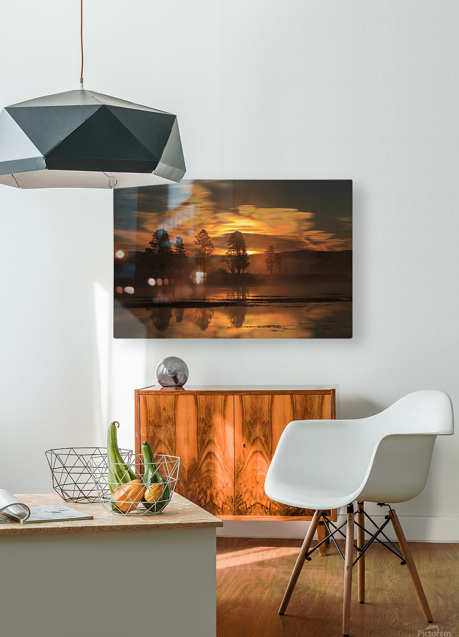 Northern Lights in Yellowstone  HD Metal print with Floating Frame on Back