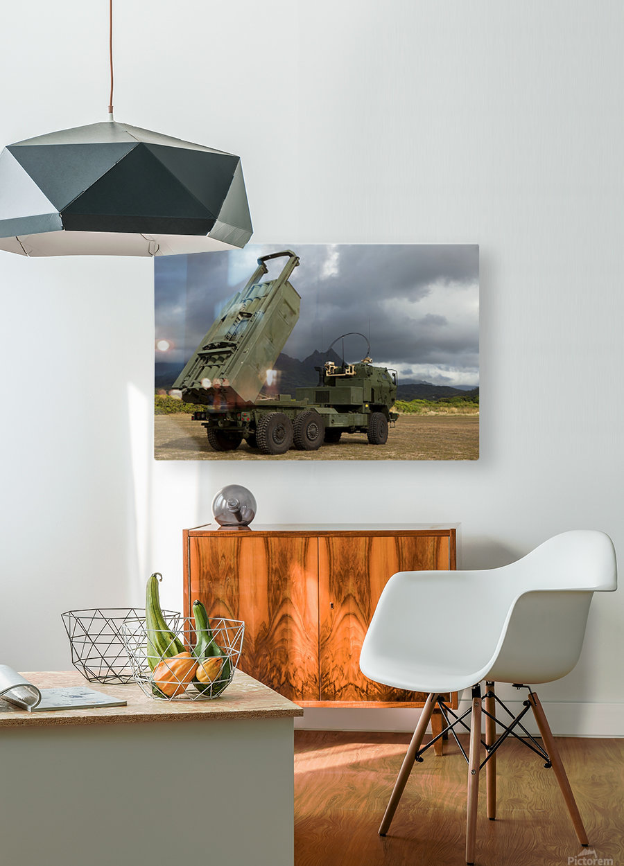 A M142 High Mobility Artillery Rocket System.  HD Metal print with Floating Frame on Back