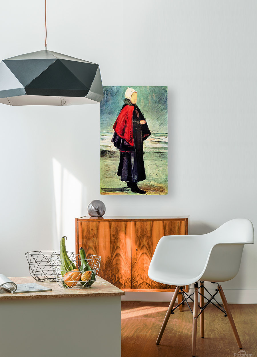 Fisherwoman on the shore by Van Gogh  HD Metal print with Floating Frame on Back