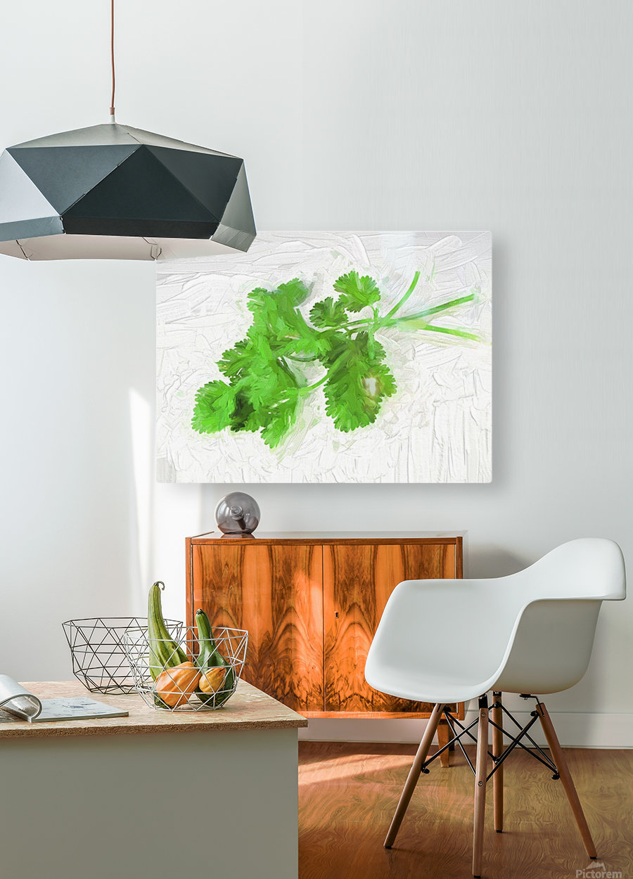 Cilantro  HD Metal print with Floating Frame on Back