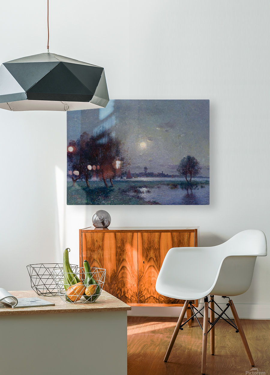 The Bank of Loire under Clear Moon  HD Metal print with Floating Frame on Back
